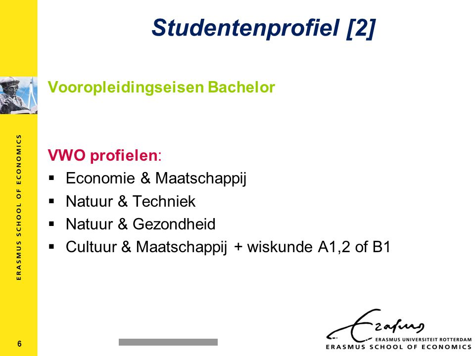 Studentenprofiel [2] Vooropleidingseisen Bachelor VWO profielen: